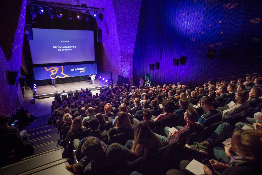 Widok sali wykładowej konferencji GrafConf