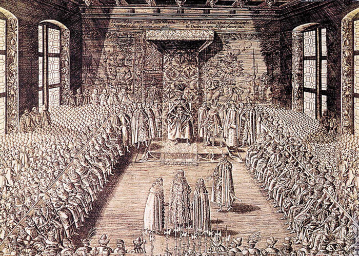 Książęta Szujscy przed królem Zygmuntem III na Sejmie warszawskim w 1611 roku (miedzioryt, XVII wiek)