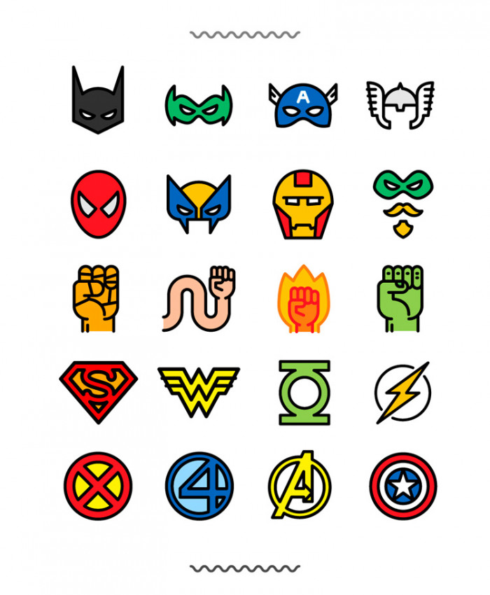 The-Flat-Superheroes-&-Villains-Icon-Set