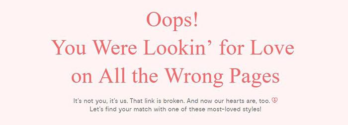 Obraz 2. Przykład copy do błędu 404 zamieszczonego na stronie firmy Modcloth.