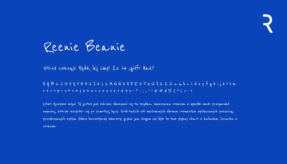 Darmowy font z polskimi znakami Reenie Benie