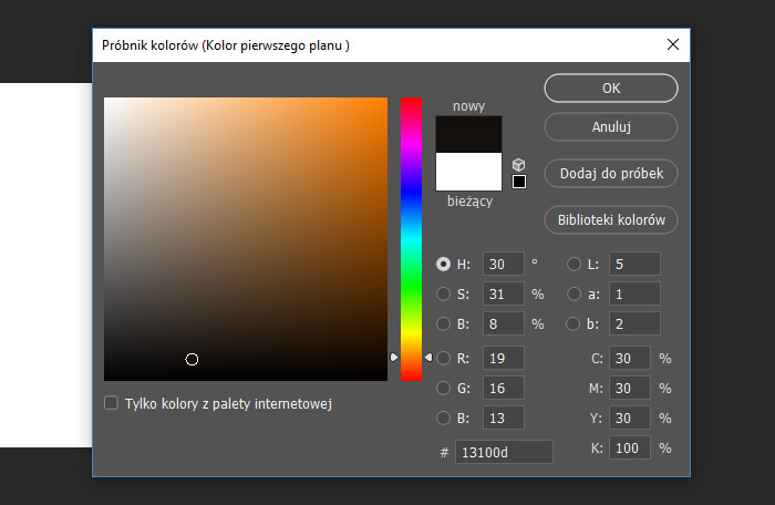 Ustawienia składowych kolorów dla głębokiej czerni