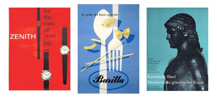 Trzy plakaty wykonane w stylu Swiss (1, 2, 3), International Poster Gallery