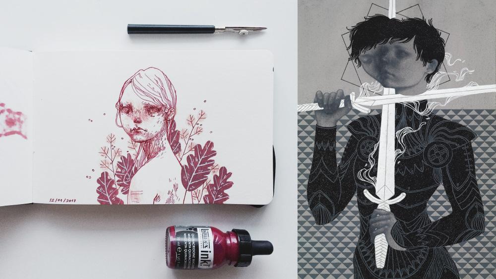 Ilustracje wykonane analogowo