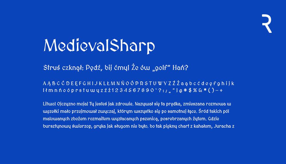 Darmowy font z polskimi znakami Medieval Sharp