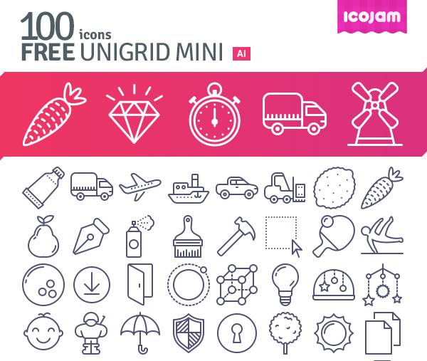 100-free-Unigrid-vector-icons