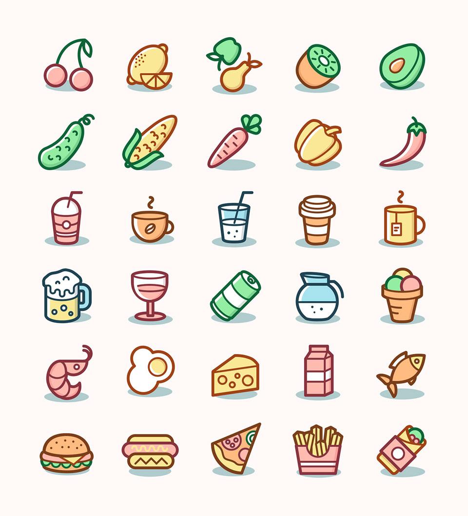 Ikony warzyw i owoców