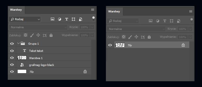 Warstwy w pliku otwartym i spłaszczony plik PSD
