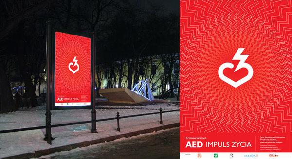 Logo i kampania informacyjna AED