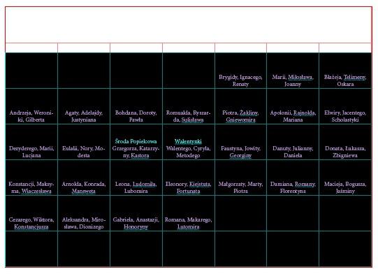 11 Projektujemy kalendarz z imieninami Indesign Kalendarium