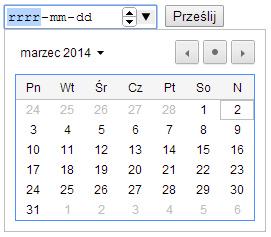 Input typu date w przeglądarce Chrome.