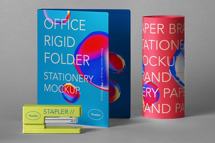 Stationery Psd Folder Mockup Scene