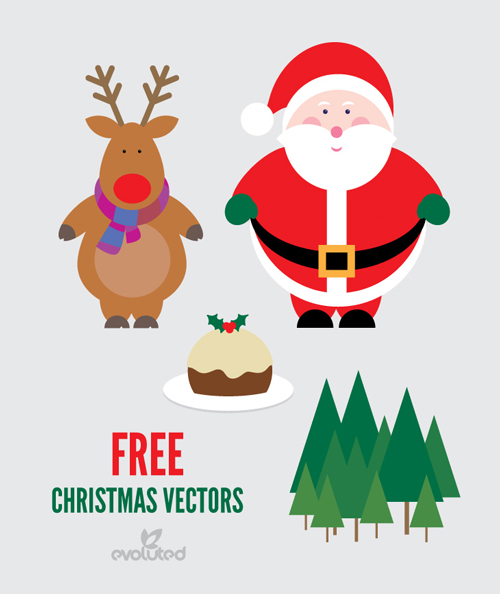 free-christmas-vectors-santa-reindeer-and-christmas-pudding