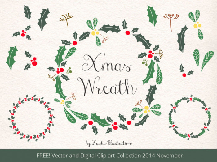 FREE-Christmas-Wreath,-Holly-Vector-and-Xmas-Digital-Clip-Art