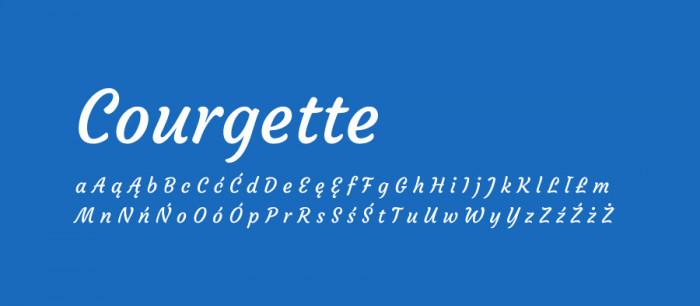 19 Courgette Darmowe fonty z polskimi znakami