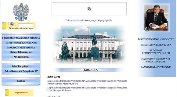Strona Prezydenta za kadencji Aleksandra Kwaśniewskiego
