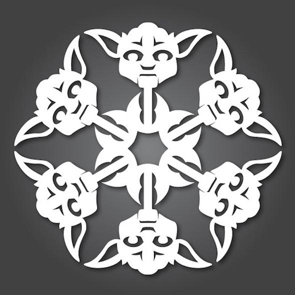 Yoda via bit rebels - bitrebels.com/design/diy-star-wars-paper-snowflakes