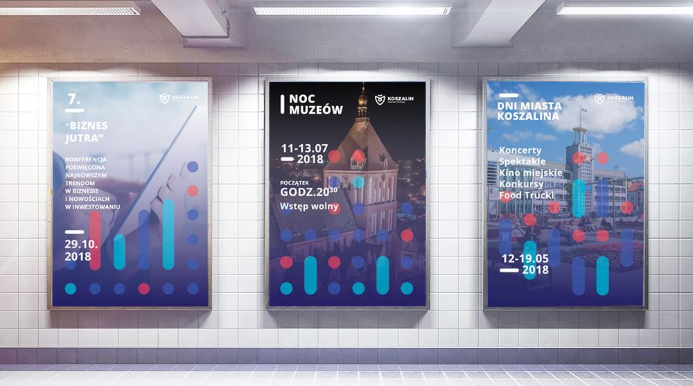 Plakaty Koszalina z nowej identyfikacji wizualnej
