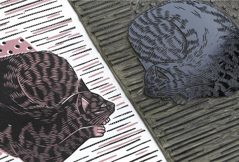 linocut prints: Cats, Zuza Miśko