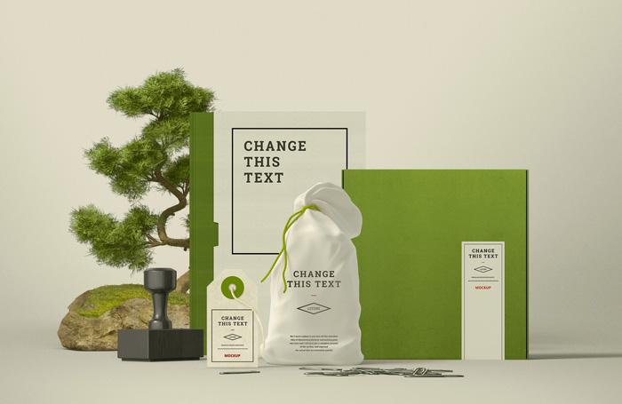 Mockup do brandingu w stylu zen