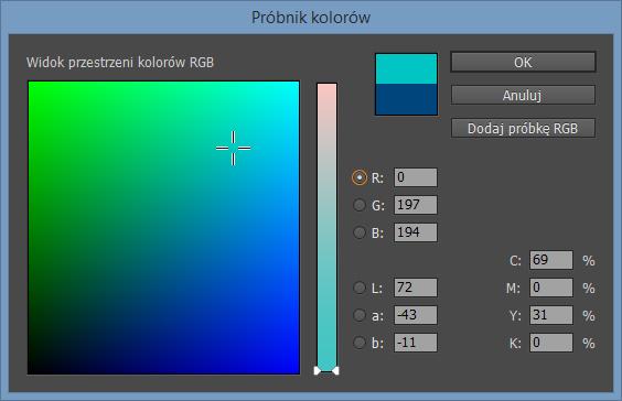 Próbnik kolorów programu Adobe Indesign CC 2014