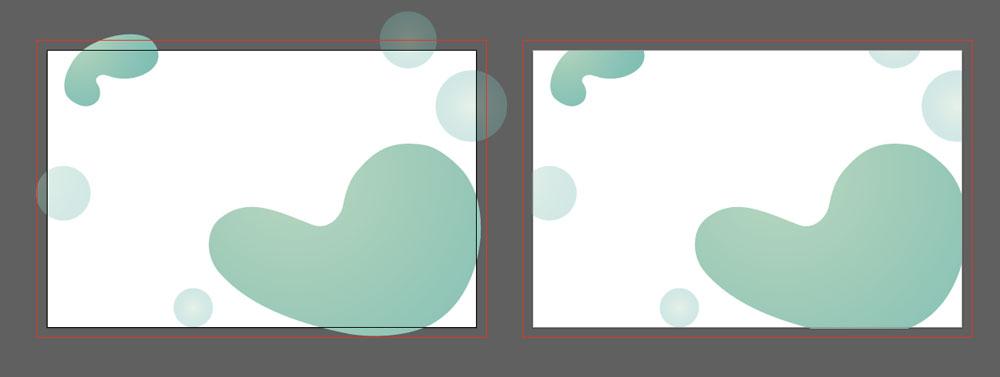 Plik ze spadami (po lewej stronie) i plik bez spadów po prawej