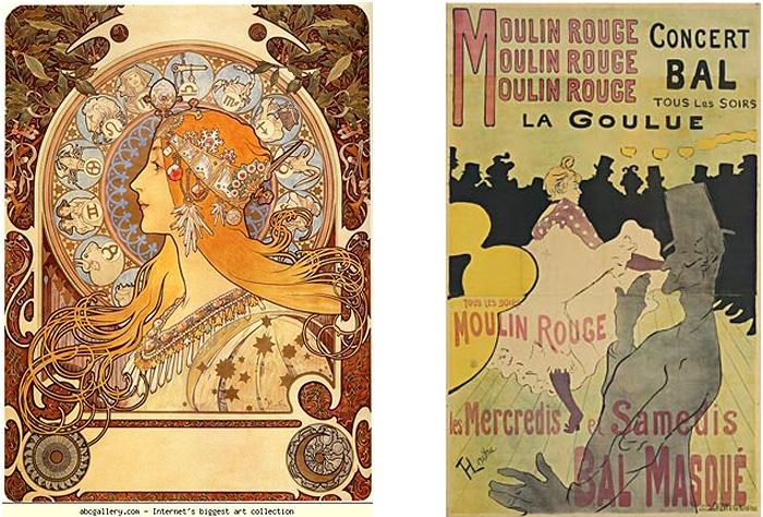 Alphonse Mucha, Zodiac, 1896 oraz Henri de Toulouse-Lautrec, Moulin Rouge: La Goulue, 1891 (pierwsza litografia Lautreca)
