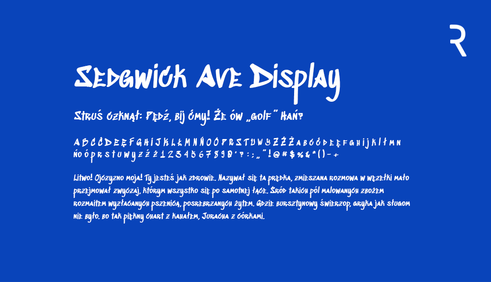 Darmowy font Sedgwick Ave Display