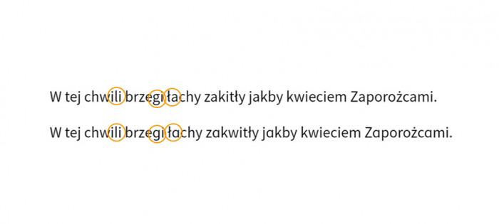 Source Sans Pro i użycie alternatywnych znaków w drugiej linii.