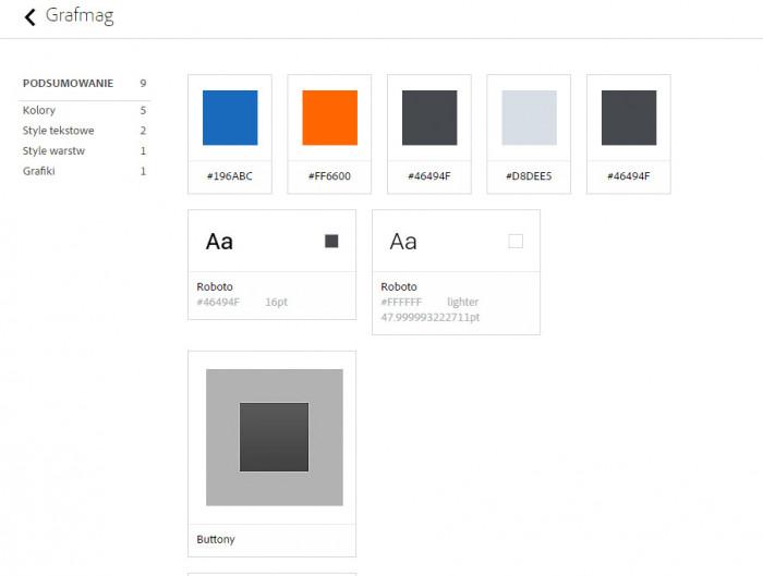 Biblioteki w przeglądarce na stronie Adobe