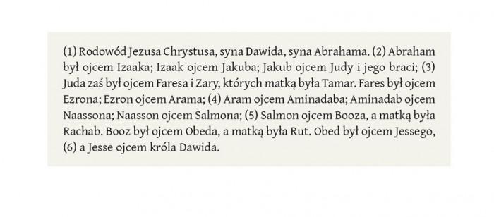 Rys.1 Wersety Biblii oznaczone numerami ujętymi w nawiasy