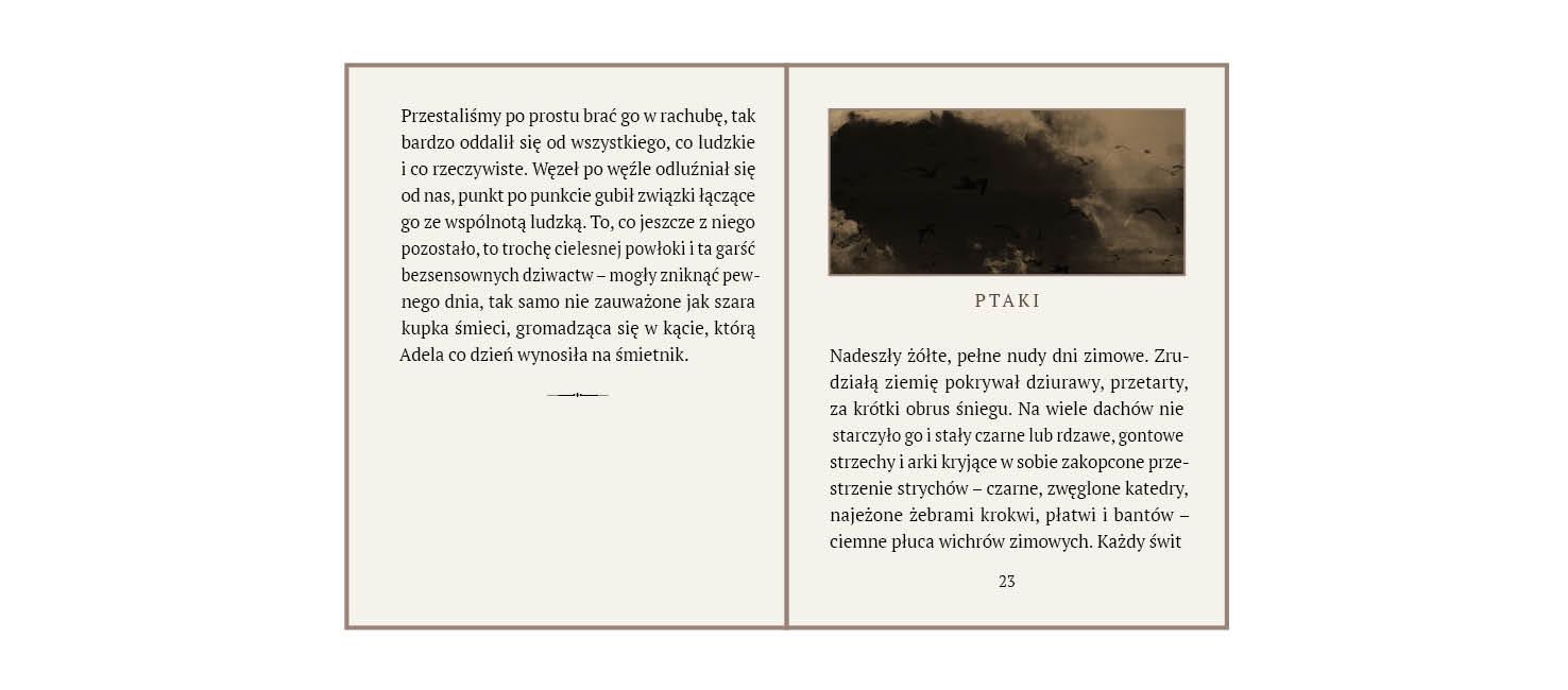 rys.6.Wewnętrzna strona tytułowa z ilustracją rozciągniętą na kolumnę i tytułem  oraz strona szpicowa