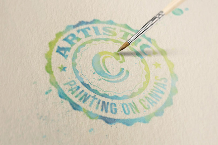 Free-Logo-Text-Mock-up-–-Watercolor-Painting