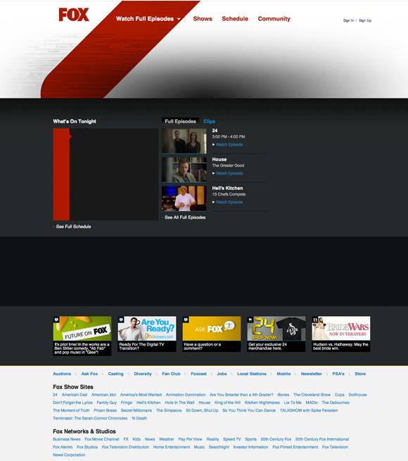 Strona internetowa Fox z 2010 roku