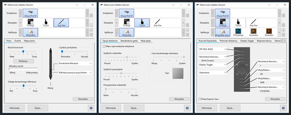Dodatkowe ustawienia tabletu graficznego