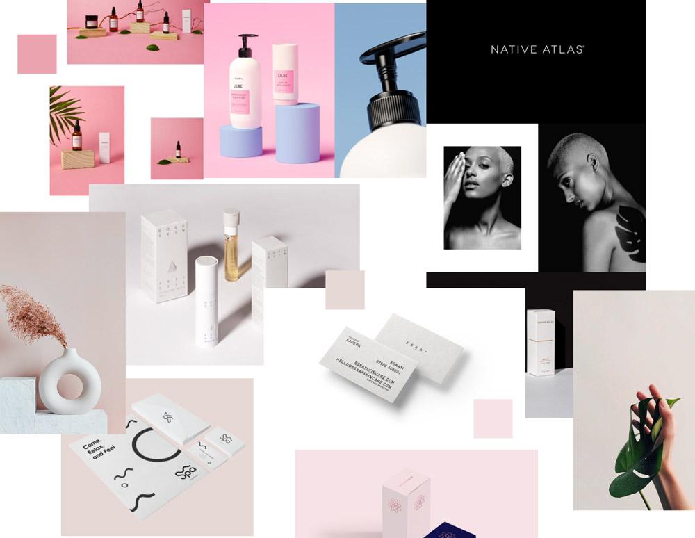 Przykładowy moodboard na potrzeby identyfikacji wizualnej firmy z branży kosmetycznej.