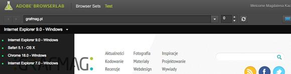 Adobe Browser Lab - wymaga rejestracji aby z niego korzystać