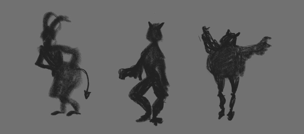 To jedynie część z miniaturek stworzonych na potrzeby konkursu. Pierwsza z nich jest rażąco oczywistą interpretacją postaci diabła, druga trochę kolebie się jak w stanie upojenia. Podobała mi się trzecia, ale chciałam zaprezentować postać mroczną, ten tutaj raczej odnalazłby się lepiej w stylistyce cartoonowej.
