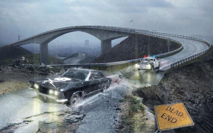 Tworzymy klimatyczna fotomanipulacje sceny poscigu w Adobe Photoshop, maski, deszcz,  (13)