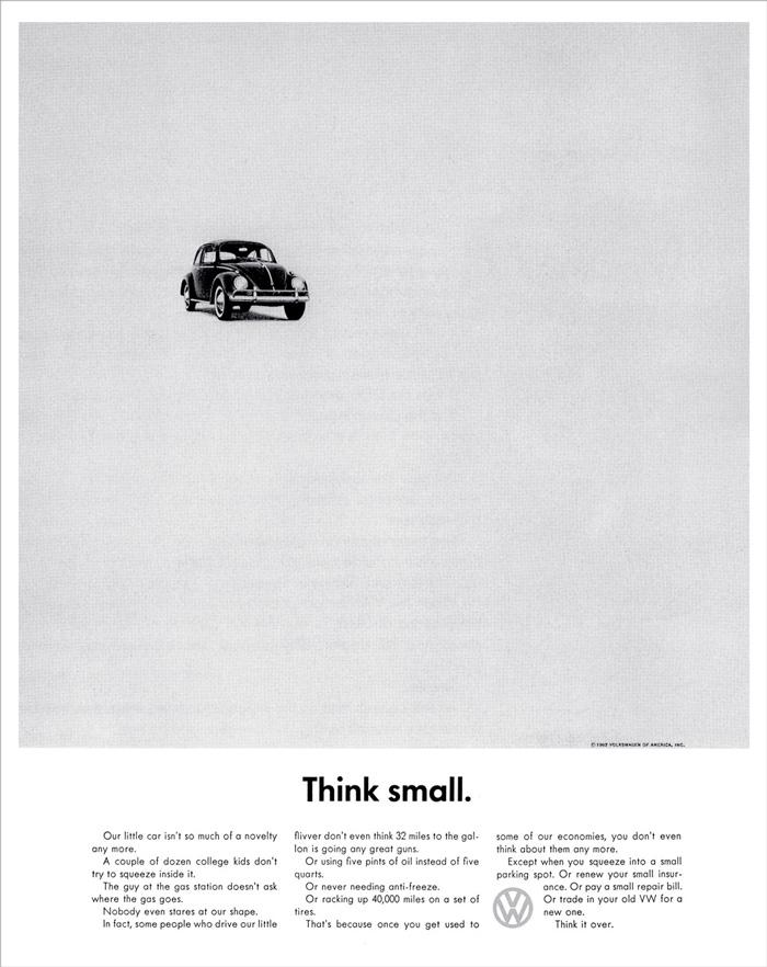 "VW Garbus w kampanii ""Think small"""
