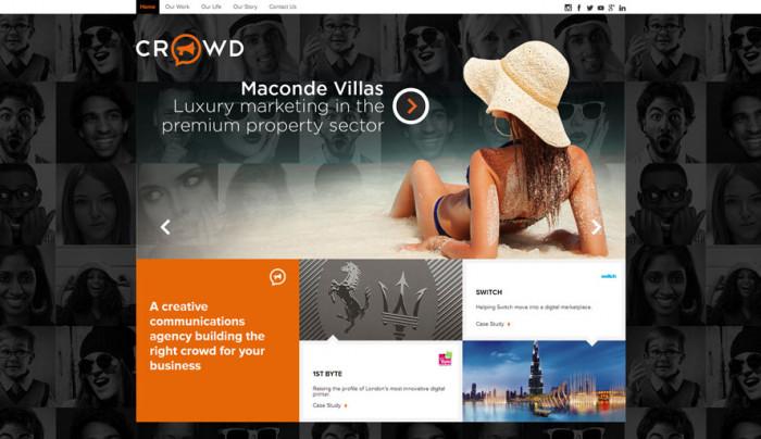 Twórcy tej strony internetowej świadomie wykorzystali podświadome znaczenie kolorów, umieszczając słowo kreatywny na pomarańczowym tle