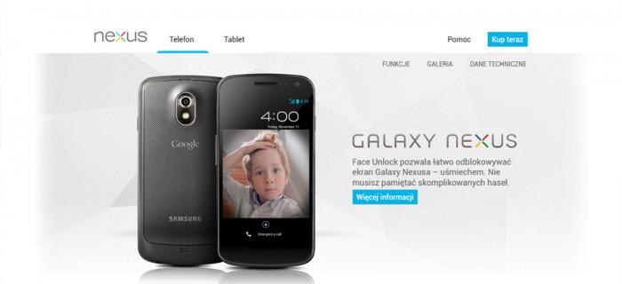 Strona telefonu Nexus