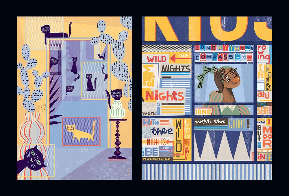 Przekrój (z lewej), Wild Nights, personal illustration (z prawej)