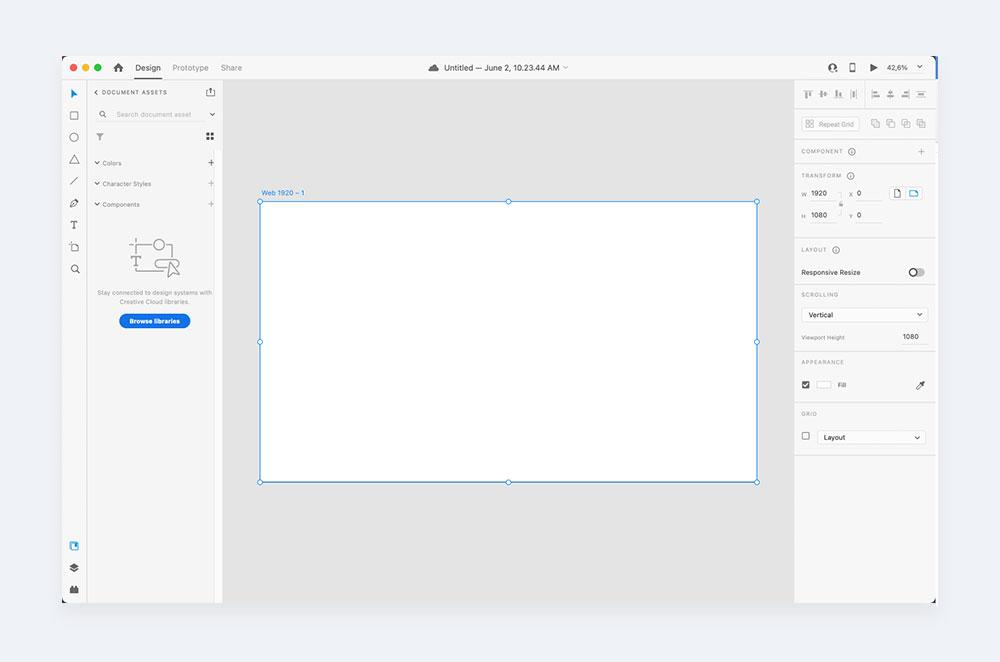 Interfejs Adobe XD