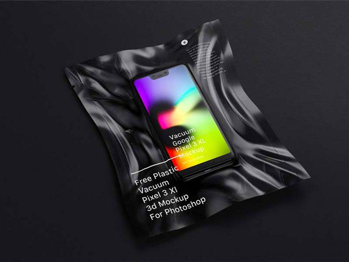 Vacuum Plastic Pixel 3 XL Mockup for Photoshop