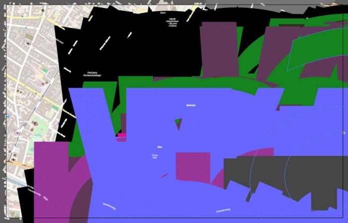 Widok mapy OpenStreetMap w formacie SVG otwartym w programie Adobe Illustrator