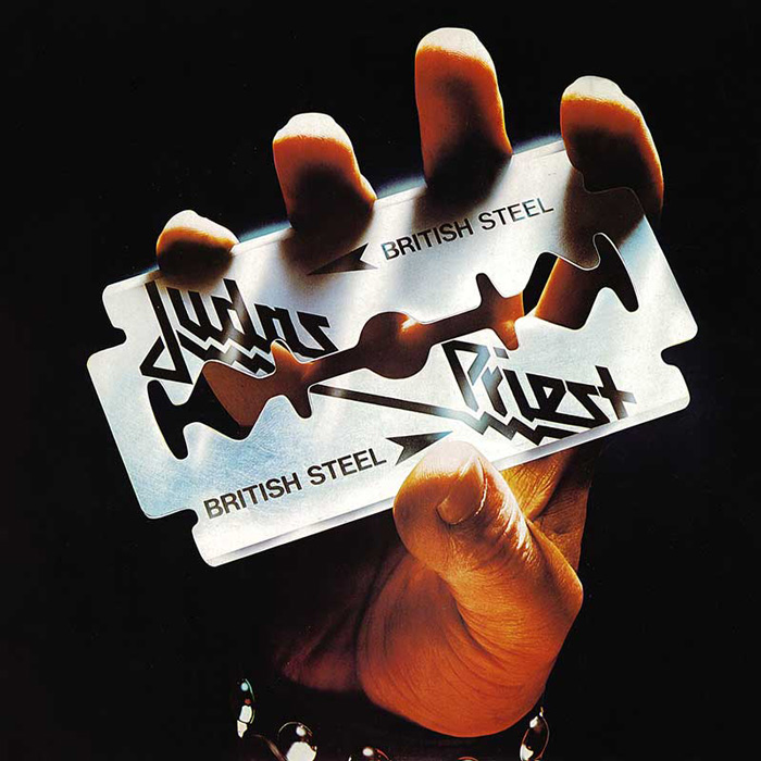"Okładka Judas Priest, ""British Steel"""