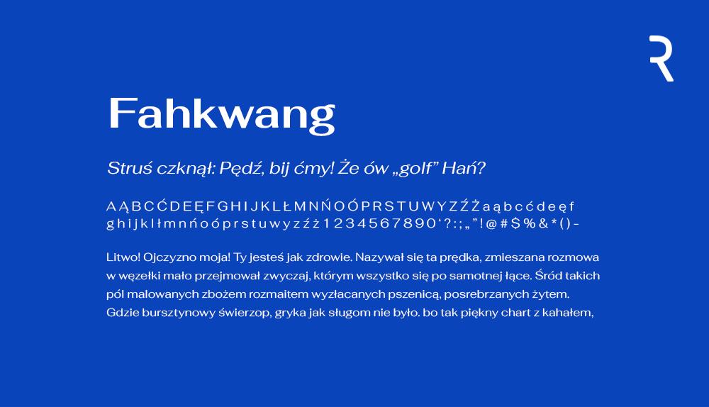 Darmowa czcionka - Fahkwang