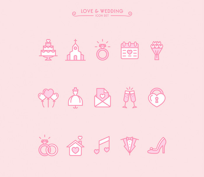 Love-&-Wedding-icon-set