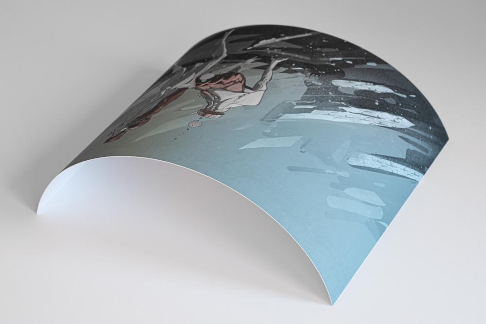 """Wydruki fine art to nie tylko zalety. Grube papiery potrafią długo """"pamiętać"""" kształt roli na którą były fabrycznie nawinięte."""